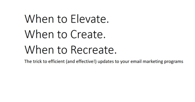 When to Elevate; When to Create; When to Recreate Your Email Programs