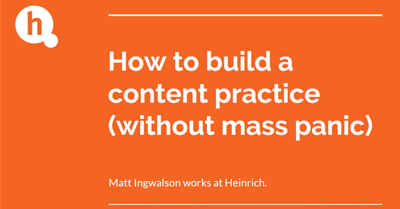 How to Run a Content Practice (Without Inciting Mass Panic)