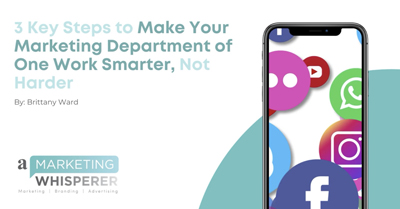 3 Key Steps to Make Your Marketing Department of One Work Smarter, Not Harder